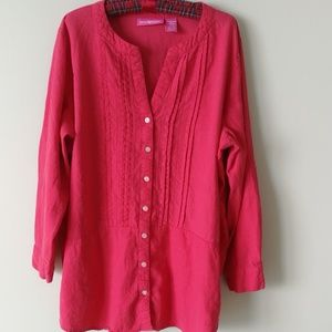 Watermelon coral linen shirt large